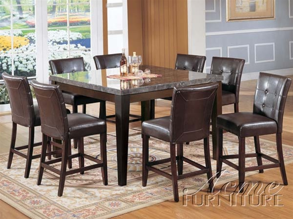 Danville 9 Piece Marble Top Counter Height Table Set in Espresso Finish by Acme - 7059 & Danville 9 Piece Marble Top Counter Height Table Set in Espresso ...