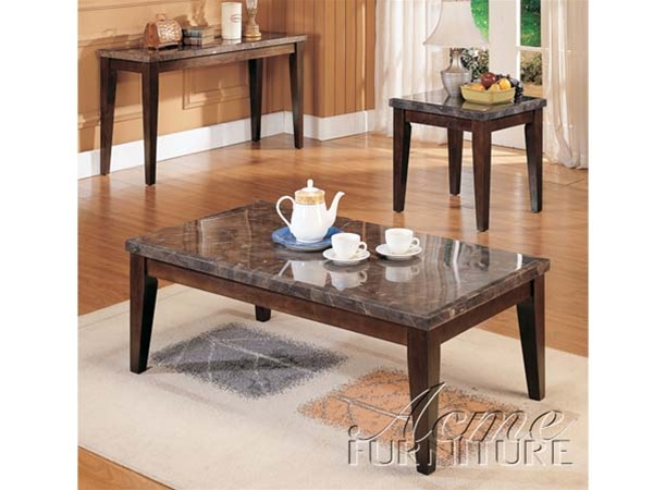 danville black marble top 3 piece coffee end table set in espresso