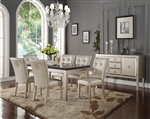 Voeville Bluestone Top Table 5 Piece Dining Set in Platinum Finish by Acme - 72025