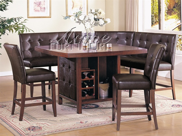 6 Piece Bravo Counter Height Table Set in Espresso By-cast leather and Cherry Finish by ... & 6 Piece Bravo Counter Height Table Set in Espresso By-cast leather ...