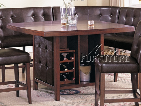 6 Piece Bravo Counter Height Table Set In Espresso By Cast Leather And  Cherry Finish By Acme   7250