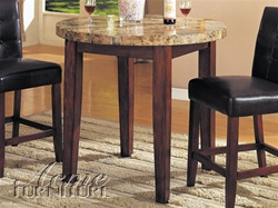 3 Piece Bologna Counter Height Set with Round Marble Table Top by Acme - 7375