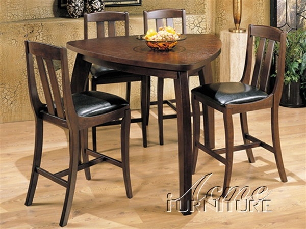 5 Piece Miles Counter Height Dining Set With Triangular Table In Walnut  Finish By Acme   7440