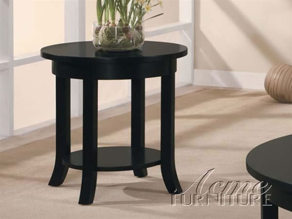 Gardena Round End Table In Dark Espresso Finish By Acme - Espresso finish coffee table set