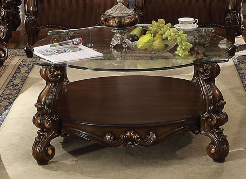Versailles Round Glass Top Coffee Table In Cherry Oak Finish By Acme   82080