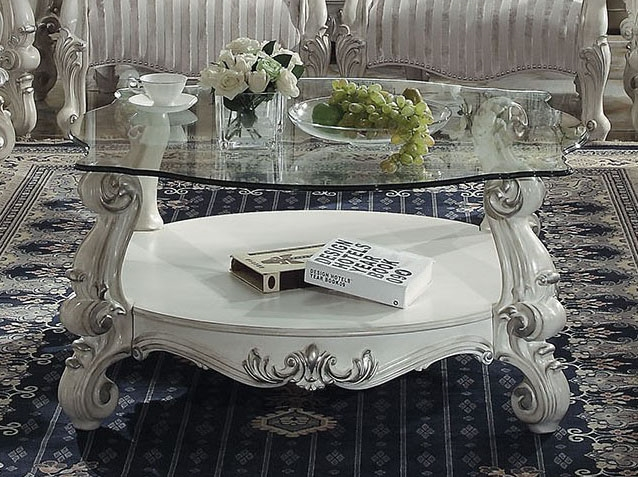 Versailles Round Gl Top Coffee Table In Bone White Finish By Acme 82085