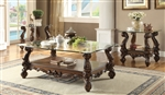 Versailles Glass Top Coffee Table in Cherry Oak Finish by Acme - 82100