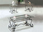 Alexandra Glass Top 3 Piece Coffee/End Table Set by Acme - 8222