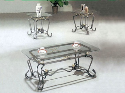 Alexandra Glass Top 3 Piece CoffeeEnd Table Set by Acme 8222