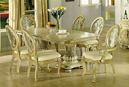 Coronado Antique White Silver Brushed 7 Piece Dining Set by Acme - 8664