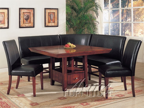 Dolce 6 Piece Dining Table Corner Unit In Cherry Finish By Acme 8680