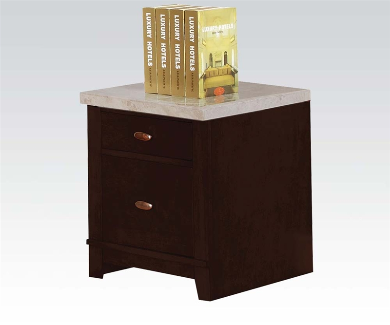britney marble top home office desk in espresso finishacme - 92008