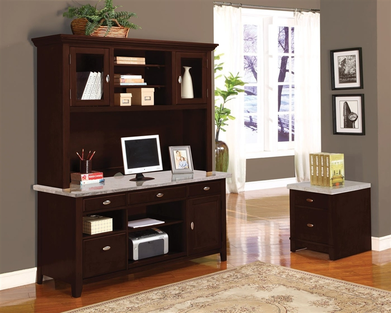 Britney 4 Piece Marble Top Home Office Set In Espresso Finish By Acme    92012 S