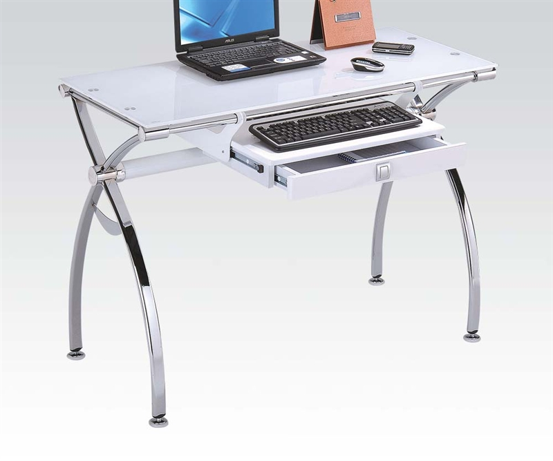 Retro White Glass Computer Desk By Acme, White Glass Computer Desk