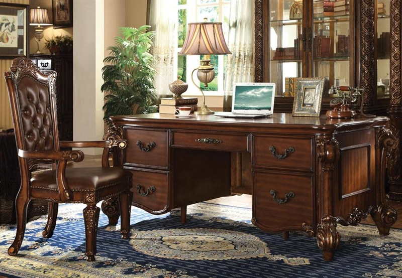 Vendome Executive Home Office Desk In Cherry Finish By Acme 92125