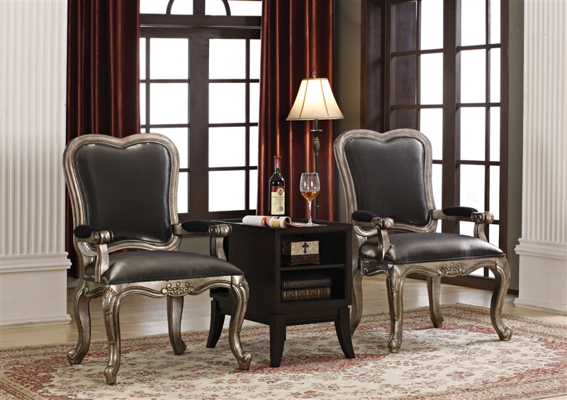 Chantelle 3 Piece Accent Chair And Table Set By Acme 96204