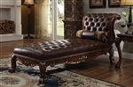 Dresden Upholstered Chaise in Cherry Finish by Acme - 96487