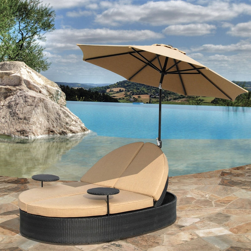 Solara outdoor patio double chaise lounge with umbrella by for 2 person outdoor chaise lounge
