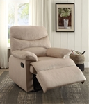 Arcadia Recliner in Beige Woven Fabric Finish by Acme - 00702