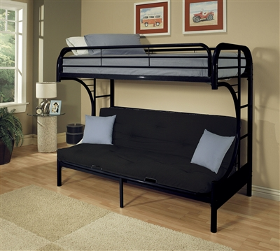 Eclipse Twin/Full Futon Bunk Bed in Black Finish by Acme - 02091BK