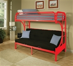 Eclipse Twin/Full Futon Bunk Bed in Red Finish by Acme - 02091RD