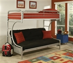 Eclipse Twin/Full Futon Bunk Bed in Silver Finish by Acme - 02091SI
