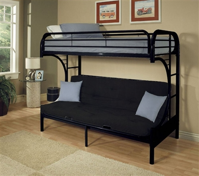 Eclipse Twin XL/Queen Futon Bunk Bed in Black Finish by Acme - 02093BK