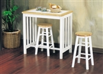 Metro 3 Piece Counter Height Dining Set in Natural & White Finish by Acme - 02140NW