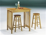 Metro 3 Piece Counter Height Dining Set in Oak Finish by Acme - 02140OT