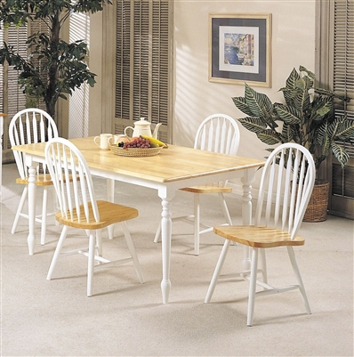 Farmhouse 5 Piece Dining Room Set in Natural & White Finish by Acme - 02247NW