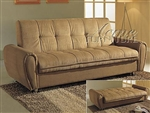 Taylor Khaki Microfiber Adjustable Sofa Bed by Acme - 05637