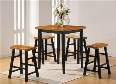 Gaucho 5 Piece Counter Height Dining Set in Oak and Black Finish by Acme - 07285