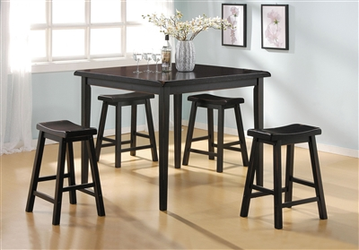 Gaucho 5 Piece Counter Height Dining Set in Black Finish by Acme - 07288
