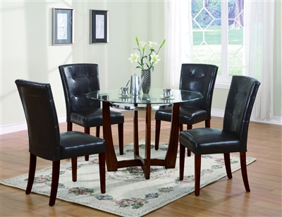 Baldwin 5 Piece Round Table Dining Room Set in Walnut Finish by Acme - 07815-07054