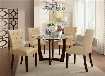 Baldwin 5 Piece Round Table Dining Room Set in Walnut Finish by Acme - 07815-70968