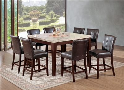 Britney 7 Piece Counter Height Dining Set in White Marble & Walnut Finish by Acme - 17059-07055