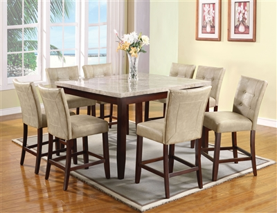 Britney 7 Piece Counter Height Dining Set in White Marble & Walnut Finish Finish by Acme - 17059-67055