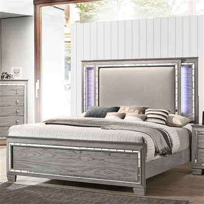 Antares Bed in Light Gray Oak Finish by Acme - 21820Q