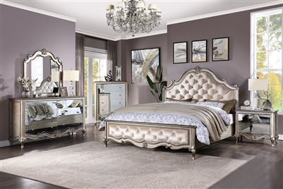 Esteban 6 Piece Bedroom Set in Champagne Finish by Acme - 22200