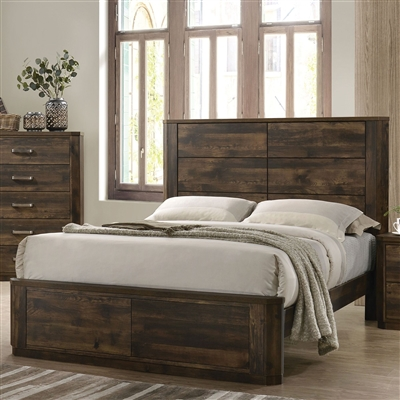 Elettra Bed in Rustic Walnut Finish by Acme - 24850Q