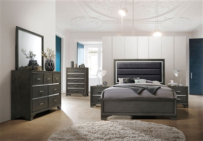 Carine II 6 Piece Bedroom Set in Gray Finish by Acme - 26260
