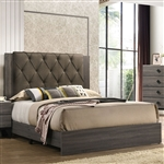 Avantika Bed in Fabric & Rustic Gray Oak Finish by Acme - 27680Q