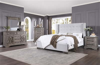 Artesia 6 Piece Bedroom Set in Tan Fabric & Salvaged Natural Finish by Acme - 27700
