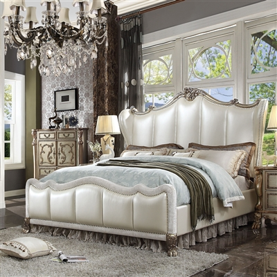Dresden II Bed in Pearl White PU & Gold Patina Finish by Acme - 27820Q