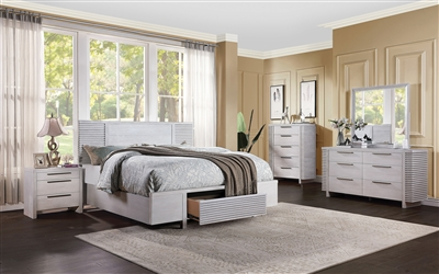 Aromas 6 Piece Bedroom Set w/ Storage in White Oak Finish by Acme - 28110
