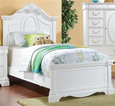 Estrella Twin Panel Bed in White Finish by Acme - 30240T