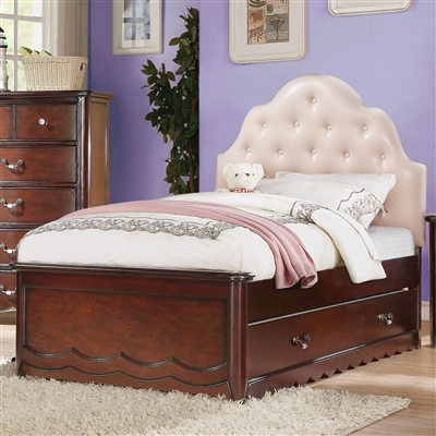 Cecilie Twin Bed w/PU Headboard in Cherry Finish by Acme - 30260T