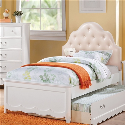 Cecilie Twin Bed w/PU Headboard in White Finish by Acme - 30300T