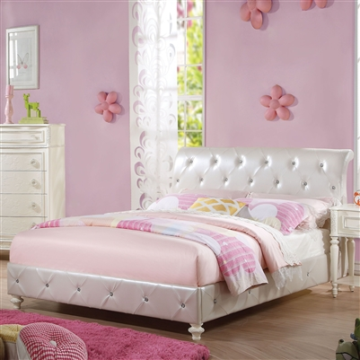 Dorothy Twin Bed in Pearl White PU & Ivory Finish by Acme - 30340T