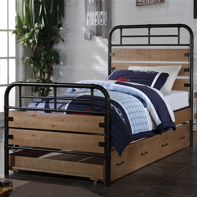 Adams Twin Bed in Antique Oak & Gunmetal Finish by Acme - 30610T